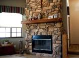 Stone fireplace of custom home in Phoenix