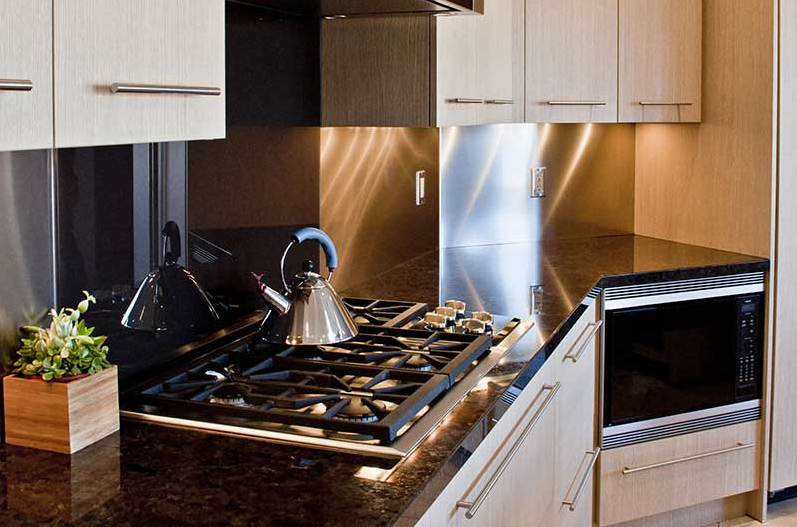 Gas stove in modern kitchen of custom home in Phoenix